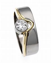 Brillant-Ring GG/WG 750/000 mit einem Brillanten 0,50 ct TW/lupenrein, RG 59, 8,5 g, Handarbeit