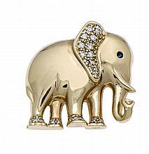Elefanten-Brosche GG/WG 585/000 mit einem rund fac. Saphir als Auge und Brillanten, zus. 0,15 ct W/SI, L. 23 mm, 7,2 g