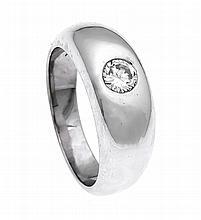 Brillant-Ring WG 750/000 mit einem Brillanten 0,36 ct feines Weiß/lupenrein, RG 53, 10,4 g, mit Expertise und Rechnung 1978 Fa. Brinckmann und Lange, Bremen