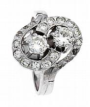 Brillant-Ring WG 585/000 mit 2 Brillanten, zus. 0,50 ct W/SI und Brillanten, zus. 0,50 ct W/SI, RG 55, 6,2 g