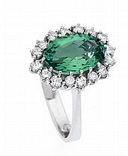 Turmalin-Brillant-Ring WG 750/000 mit einem feinen oval fac. Turmalin 12 x 9 mm und Brillanten, zus. 0,50 ct TW/SI, RG 53, 6,1 g