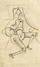 Anonymer, wohl russischer Künstler 1. H. 20. Jh., konstruktivistische Bleistiftzeichnung auf Papier, unsign., leicht fleckig, 38 x 22 cm, hinter Glas ger. 55 x 41 cm