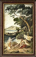 Friedrich Preller (1804-1878), Kopie nach, Odysseus und Kalypso, Kopie um 1920, Öl/Hartfaser, unsign., 47 x 28 cm, ger. 56 x 37 cm