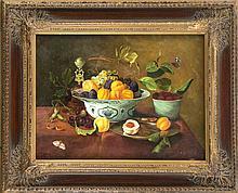C. Bauer, 2. H. 20. Jh., Früchtestillleben mit Tischglocke und zwei Faltern, Öl/Sperrholz, u. li. sign., 30 x 40 cm, ger. 43 x 54 cm