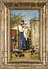 Adolf Echtler (1843-1913), in Danzig geb. Genremaler, studierte in St. Petersburg, Venedig, Wien u. München, berühmt für seine venezianischen u. bretonischen Genrestücke, bretonische Mutter mit ihrem Kind am Gartentor, einen Schwarm Tauben, Adolf Echtler, €2,200