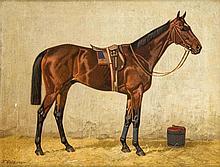 Emil Volkers (1831-1905), Düsseldorfer Pferdemaler, Bildnis eines Rennpferdes im Stall, Öl/Lwd., u. li. sign., rest., 37 x 49 cm, ger. 43 x 54 cm