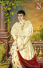 Hofmaler Schmitz, großes repräsentatives Damenportrait des ausgehenden 19. Jh. Pendant zum nachstehenden Herrenportrait. Vor eine Balustrade mit Ausblick auf eine Landschaft mit dörflicher Silhouette im Hintergr. steht eine Dame im üppigen