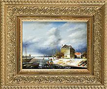 L. Grace, 2. H. 20. Jh., holländische Winterlandschaft mit Eisläufern, Öl/Holz, u. li. sign., 22 x 29 cm, ger. 41 x 47 cm