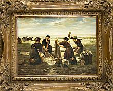 Anonymer Maler 2. H. Jh., Wäscherinnen am Meer, vielfigurige Genreszene im Stil des akademischen Realismus, Öl/Sperrholz, unsign., 29 x 40 cm, ger. 46 x 56 cm