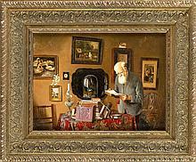 Anonymer Maler 2. H. 20. Jh., Bücherwurm während der Vorbesichtigung eines Auktionshauses. Interieur mit verschiedenen Antiquitäten in dem ein älterer Herr sich ein Buchkonvolut zur Begutachtung vornimmt. Öl/Sperrholz, unsign., 30 x 40 cm, ger.