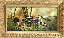 G. Huber, Historienmaler 2. H. 20. Jh., Versorgung eines versehrten am Rande einer Schlacht des deutsch-französischen Krieges, Öl/Sperholz, u. re. sign. ''G. Huber'', 30 x 60 cm, ger. 44 x 74 cm