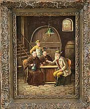 Albert Blätter (1878-1935), Berliner Genremaler, Jäger mit zwei Mönchen und Kellermeister bei einem Gläschen im Weinkeller, Öl/Lwd., u. re. sign., min. besch., 40 x 30 cm, ger. 53 x 43 cm