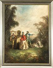 Maler des 19. Jh., galante Rokokogesellschaft im Park nach Watteau, Öl/Lwd., unsign., ber., 65 x 48 cm, ger. 74 x 58 cm