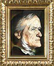 Anonymer Künstler um 1900, Portrait von Richard Wagner nach rechts, Pastellkreide auf Papier, unsign., hinter Glas ger. (ungeöffnet), 38 x 27 cm, ger. 54 x 44 cm