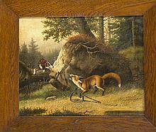 R. Gregorius, Jagdmaler Ende 19. Jh., ein Fuchs ist in die Falle gegangen und wird von einem Jagdhund entdeckt, Öl/Lwd., u. li. sign., 42 x 52 cm, ger. 57 x 67 cm