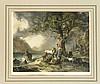 Eduard Weixlgärtner (1816-1873), zwei kol. Lithographien nach Gemälden von Gauermann, ''Der schützende Baum'' und ''Der Schiffzug'', teils fleckig, 31 x 39 cm, hinter Glas u. Pp. ger. 52 x 63 cm, Eduard Weixlgärtner, €200