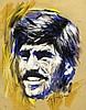 Ole Jensen (1924-1977), Berliner Maler, Zeichner und Karikaturist, bekannt für seine Karikaturen aus der Berliner Abendschau, karikierendes Portrait, Tusche, Acryl u. Kreide auf bräunlichem Papier, u. re. handsign., Randläsuren, 50 x 40 cm, Ole (1924) Jensen, €80