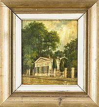 Anonymer Maler des 19. Jh., Ansicht eines Gartenhäuschens, Öl/Lwd., unsign., rest.-bed., 26,5 x 23 cm, ger. 40 x 37 cm