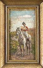 Russischer Maler des 19. Jh., Soldat zu Pferde eine Depesche lesend, Öl/Lwd. auf Karton doubl., verso kyrillisch bez. ''V. Verescagin'', unsign., ber., 22 x 12 cm, ger. 32 x 21 cm