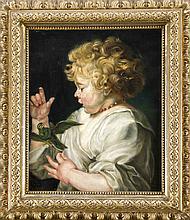Anonymer Kopist Ende 19. Jh., Kopie nach Rubens ''Kind mit dem Vogel'', bei dem es sich wahrscheinlich um Rubens' Sohn Albert handelt, Öl/Lwd., unsign., 50 x 40 cm, ger. 68 x 58 cm