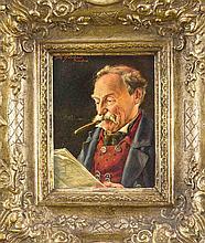Otto Kirchner (1887-1960), Münchenr Genremaler, rauchender Bayer bei der Zeitungslektüre, Öl/Sperrholz, o. li. sign. u. ortsbez. ''München'', 17 x 13 cm, ger. 32 x 29 cm
