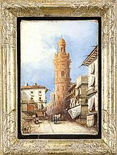 Unidentifizierter Maler des 19. Jh., Ansicht einer italienischen Stadt mit Turm und Staffagefiguren, Öl/Lwd., u. li. undeutl. sign., ''R... Pallous'' (?), ber., 19 x 13 cm, ger. 26 x 20 cm