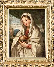 Ital. Maler des 18. Jh., Marienbildnis vor einer Landschaft mit Turm, Öl/Kupferblech, unsign., 22 x 17 cm, ger. 28 x 23 cm