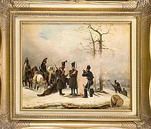 Caspar Johan Nepomuk Scheuren (1810-1887), bedeutender Vertreter der Düsseldorfer Malerschule. Rastendes Garde-Regiment wärmt sich an einem Feuer in verschneiter Landschaft, Öl/Lwd., u. re. sign. u. dat. ''C. Scheuren 1839'', min. retusch., 31 x