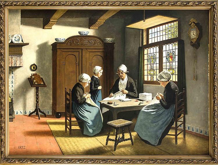 Sign artz genremaler um 1900 interieur mit friesischen fr for Interieur 1900