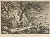 Johann Elias Ridinger (1698-1767), ''Vertreibung aus dem Paradies'', große Radierung auf Velin mit dreisprachigem Schriftrand, Läsuren im breiten Rand, sonst nur schwach gebräunt, 40 x 55 cm, hinter Pp. 52 x 65 cm, Johann Elias Ridinger, €100