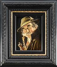 Carl Heuser (1827-1892), Münchner Portraitist und Genremaler, bekannt für seine bayrischen ''Typen'', hier ein ausdrucksstarker Jäger mit Pfeife, Öl/Holz, o. re. sign., 17 x 12 cm, ger. 47 x 44 cm