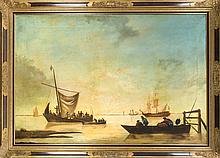 Gerrit Stegemann (1858-1940) (attrib.), vor Anker liegende Schiffe mit Seeleuten und Anglern, Öl/Lwd., unsign., Craquelé, rest. u. retusch., 86 x 128 cm, ger. 100 x 144 cm