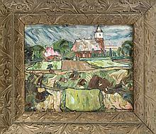 Unidentifizierter Expressionist um 1910, Blick über Felder auf eine Kirche, Öl/Karton, u. re. undeutl. sign., Abplatzer, 25 x 30 cm, ger. 42 x 47 cm