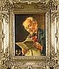 Otto Kirchner (1887-1960), Münchenr Maler, Bayer bei der Zeitungslektüre, Öl/Hartfaser, o. re. sign., 24 x 18 cm, ger. 39 x 33 cm, Otto Kirchner, €80