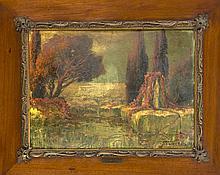 Schwed-Reitz, Maler des Symbolismus um 1900, Landschaft mit Grabmal in Atmosphäre an Böcklin gemahnend, Öl/Karton, u. re. sign. u. dat. 1907, reinigungsbed., 34 x 46 cm, ger. 51 x 64 cm