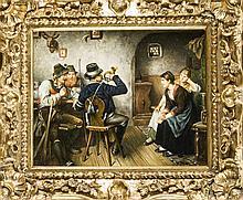 G. Bauer, 2. H. 20. Jh., drei Jäger im Wirtshaus schäkern mit zwei Mädchen. Qualitätvolles bayrisches Genrebild im Stil von Emil Rau. Öl/Holz, u. re. sign., 19 x 23 cm, ger. 28 x 33 cm