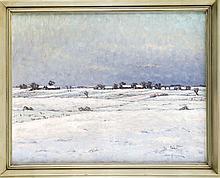 Bror Ljunggren (1884-1939), schwedischer Maler, verschneite Winterlandschaft mit Blick auf eine kleine Siedlung, Öl/Lwd., u. re. sign., 52 x 66 cm, ger. 62 x 75 cm