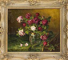 Blumenmaler um 1900, Stillleben mit Rosenstrauss, Öl/Lwd., u. li. sign. ''A. Allihn (?)'', min. ber. 50 x 60 cm, ger. 67 x 76 cm