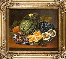 Anonymer Maler des 19. Jh., Stillleben mit Kürbis und Trauben, Öl/Lwd., unsign., 38 x 45 cm, ger. 52 x 60 cm