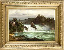 Ferdinand Konrad Bellermann (1814-1889) nach, der Rheinfall bei Schaffhausen, Kopie Ende des 19. Jh., Öl/Lwd., u li. bez. ''Bellermann'', am re. Rand ber., 30 x 45 cm, ger. 47 x 60 cm