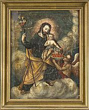 Anonymer Maler um 1700, Josef mit dem Christusknaben der flammende Herzen in eine Schale legt, die von einem knienden Engel gehalten wird, Öl/Lwd., auf Holz doubl., ber. u. Abplatzer, 39 x 30 cm, ger. 48 x 38 cm