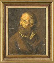 Anonymer Bildnismaler des 18. Jh., ausdrucksstarkes Portrait eines Mannes nach links blickend, Öl/Holz, unsign., verso Reste alter handschrftl. Etiketten, 28 x 23 cm, ger. 35 x 30 cm