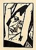 Erich Heckel (1883-1970), Mädchenkopf mit erhobenen Armen, Holzschnitt auf sandfarbenem Velin, unsign., 26 x 17 cm, Blattmaße 35 x 25,5 cm, hinter Glas ger. 39 x 31 cm, Erich Heckel, €100