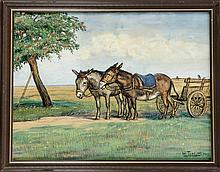Willy Tiedjen (1881-1950), dt. Tiermaler, Schüler von Zügel in München, war vorwiegend in der Schweiz und in München tätig. Zwei Esel mit Karren vor einem Apfelbaum, Pastellkreide auf Papier, u. re. sign. u. dat. 1913, 37 x 49 cm, hinter Glas