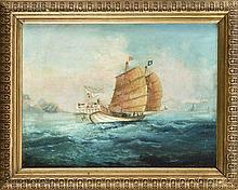 Marinemaler, China um 1920, Zwei Kapitänsbilder chinesischer Dschunken auf See, Öl/Hartfaser, unsign., 22 x 30 cm, ger. 30 x 38 cm