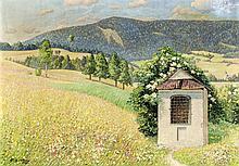 Max Felgentreu (1874-1952), dt. Landschaftsmaler aus Luckenwalde, tätig auf dem Monte Trinità bei Locarno, Bildstock in alpiner Landschaft, Öl/Lwd., u. li. sign. u. dat. 1934, 50 x 71 cm
