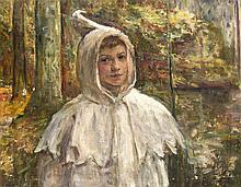 Léon Corthals (1877-1935), belgischer Maler, Bildnis eines Jungen in Pelerine an einem Waldsee, Öl/Lwd., u. re. sign. u. Widmung ''à l'ami Felix Lagelein L. Corthals 1910'', ber., Abplatzer, zwei kl. Löchlein, 75 x 59 cm