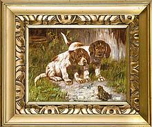 Josef Schmitzberger (1851-1936), nach, zwei Jagdhundwelpen vor einem Frosch, Öl auf Papier wohl über Druck auf Milchglas, o. li. bez. ''n. Schmitzberger''. 20 x 25 cm, ger. 31 x 38 cm