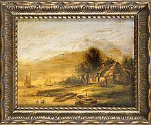 Pieter Lodeviik Kluyver (1816-1900) (attrib.), ''Flußlandschaft mit Gehöft und Figuren'', Öl/Holz, u. re. undeutl. sign., verso zugeschr., ber., rest.-bed., 17,5 x 22,5 cm, ger. 23,5 x 28 cm