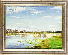 Hermann Knaupe (1887-1944), ''Blick von Pichelswerder nach Tiefwerder'', Öl auf Karton, 1936, links unten signiert und datiert, rückseitig betitelt. 45,0 cm x 59,0 cm, ger.